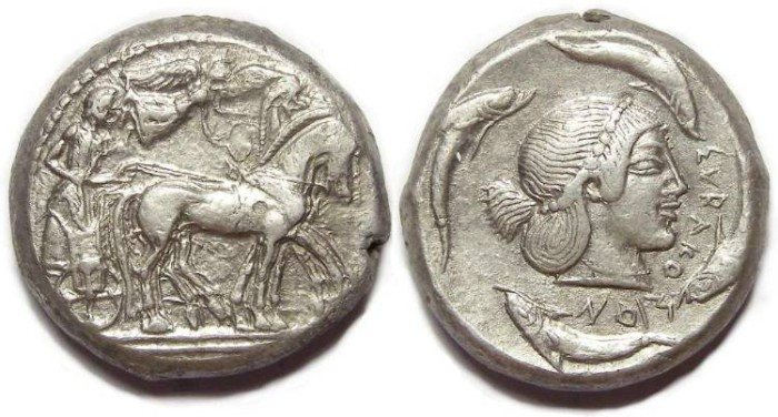 Ancient Coins - Syracuse in Sicily. ca. 485 to 479 BC. Silver tetradrachm