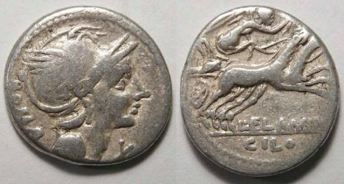 Ancient Coins - Roman Republic. L. Flamimus Chilo. ca. 109-108 BC.
