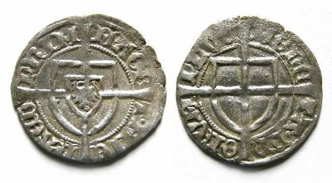 Ancient Coins - Germany, Teutonic order. Michael Kuchmeister, 1414 to 1422. Silver Schilling.