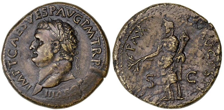 Ancient Coins - TITUS AS AUGUSTUS.  AD 79-81.  AE SESTERTIUS