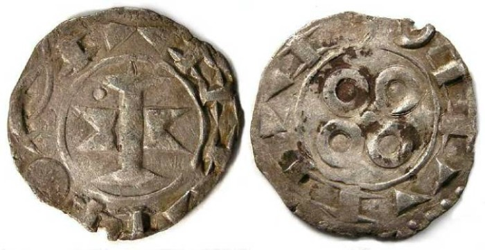 Ancient Coins - French Feudal. Maguelonne Counts and Bishops, 11th to 13th century. Silver denier.