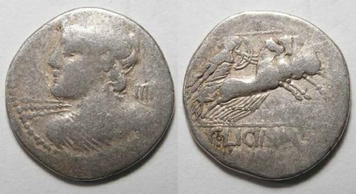 Ancient Coins - Licinius L f Macer. ca. 84 BC. Silver denarius.