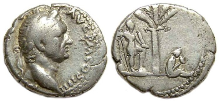 Ancient Coins - Vespasian, AD 69-79. Silver denarius. Antioch mint. Judaea Capta series.