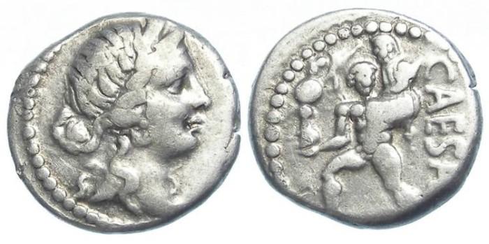 Ancient Coins - Roman Imperatorial. Julius Caesar. ca. 46 BC. Silver denarius.