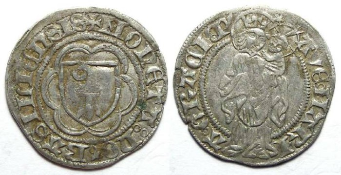 Ancient Coins - Swiss. City of Basel.  Silver Plappard.  Late 15th to early 16th century.