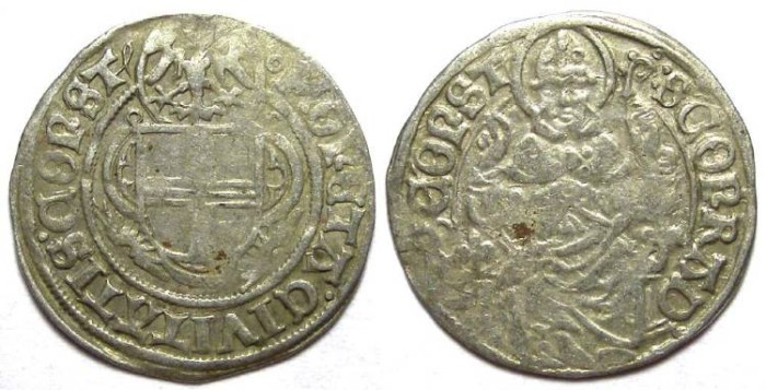 Ancient Coins - Germany/Swiss/Austria. Constanz City. Anonymous 16th century. Silver half Batzen.