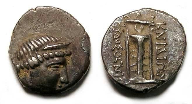 Ancient Coins - Knidos in Caria. Silver tetrobol. 300 to 250 BC.