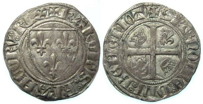 Ancient Coins - France. Charles VI, AD 1380 to 1422. Blanc Guenar.
