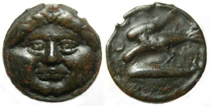 Ancient Coins - Olbia in Thrace. Cast AE 36, 3rd to 1st century BC.
