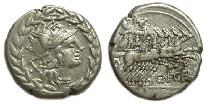 Ancient Coins - Roman Republic. Cn Gellius. Silver denarius. ca. 138 BC.