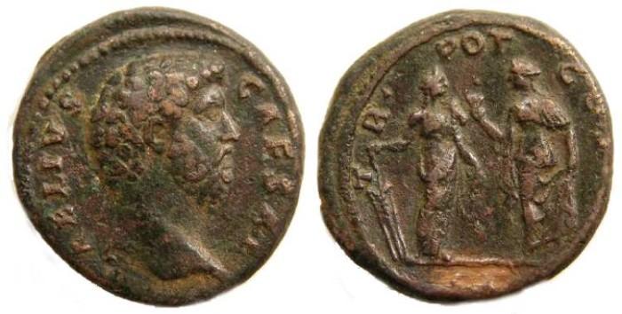 Ancient Coins - Aelius, AD 136 to 138, Bronze Dupondius.