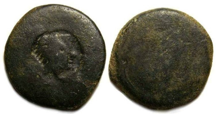 Ancient Coins - Akragas in Sicily. AE trias countermarked. ca. 405 to 392 BC.