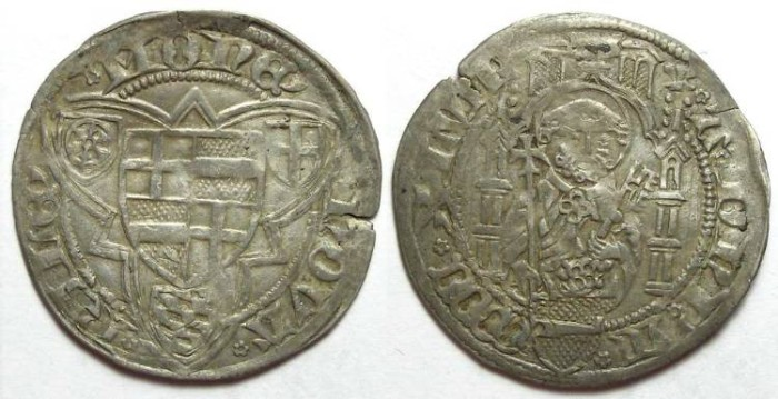 Ancient Coins - Germany, Riehl. Silver Groschen. DATED 1447.