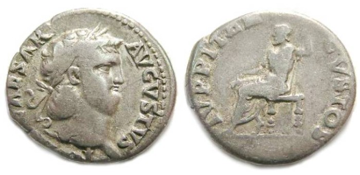 Ancient Coins - Nero. AD 54 to 68. Silver denarius