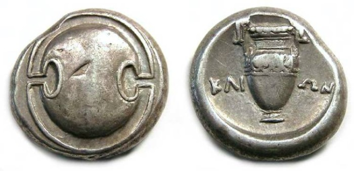 Ancient Coins - Boeotia, Thebes. 371-338 BC. Silver stater