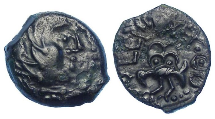 Ancient Coins - Celtic, Gaul. Senones Tribe. ca. 100 to 50 BC.  AE 16 struck bronze.