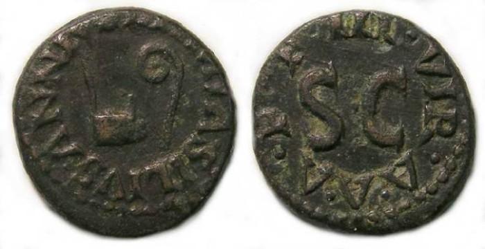 Ancient Coins - Augustus. AE quadrans. ca. 9 BC.
