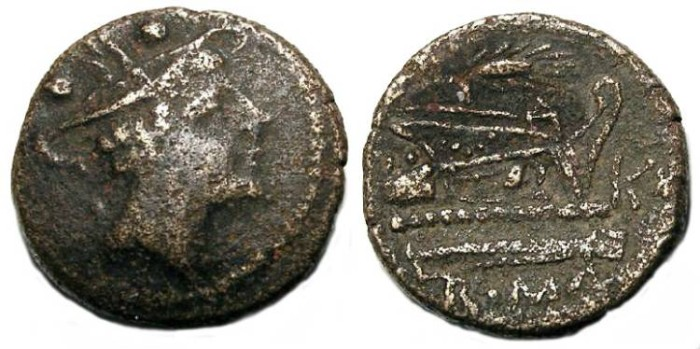 Ancient Coins - Anonymous bronze Sextans, ca. 211 to 206 BC