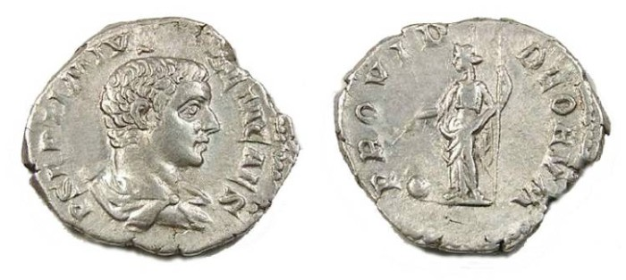 Ancient Coins - GETA, AD 198 to 209, Silver denarius.