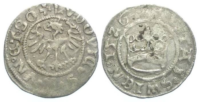 Ancient Coins - Bohemia.  Swidnica under Habsburg rule.  Louis II.  Silver 1/2 groschen. AD 1526.