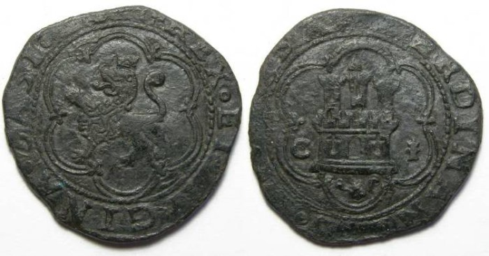 Ancient Coins - Spain, Ferdinand and Isabella, AD 1474 to 1504, bronze Octavio