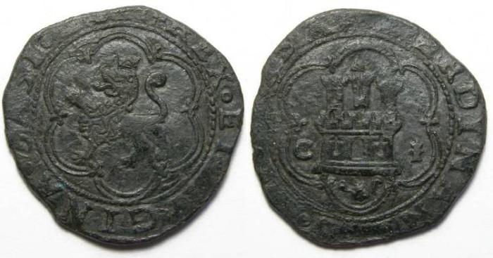 Ancient Coins - Spain, Ferdinand and Isabella, AD 1474 to 1504, bronze Octavio