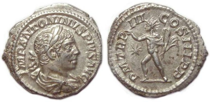Ancient Coins - Elagabalus, AD 218 to 222. Silver denarius.