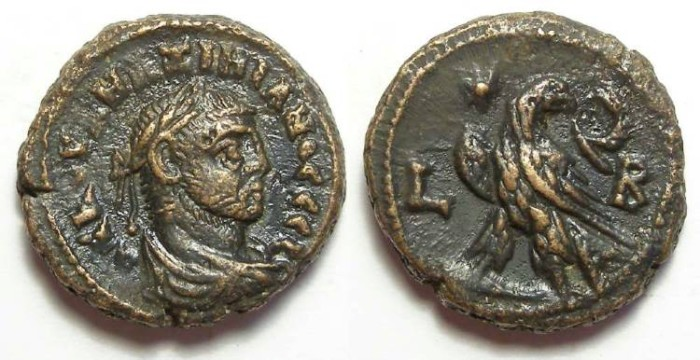 Ancient Coins - Alexandria, Maximianus, AD 286 to 305, Yr-2 potin tetradrachm. 20 mm.