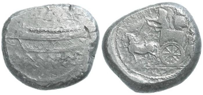 Ancient Coins - Phoenicia, Sidon. King Baalshallim II, ca. 384 to 370 BC. Silver tetrashekel.