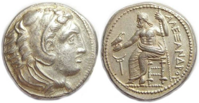 Ancient Coins - Macedonian Kingdom, Alexander the Great, 336 to 323 BC. Silver tetradrachm.