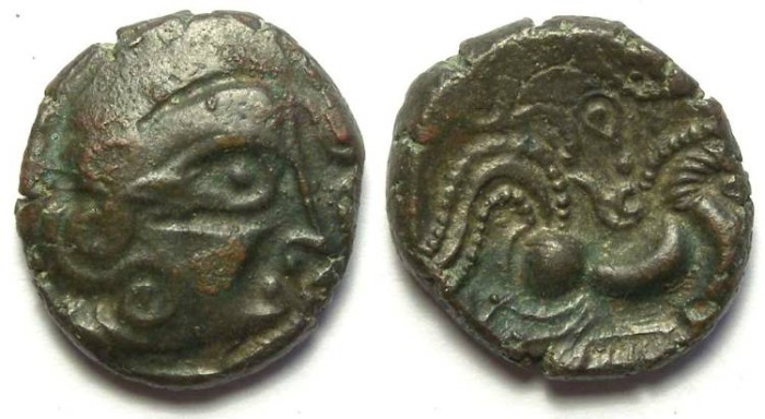 Ancient Coins - Celtic Gaul. Armorican, Unelli. ca. 75 to 50 BC. Billon stater.