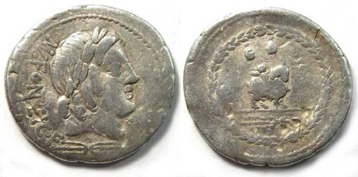 Ancient Coins - Mn Fonteius C f. ca. 85 BC. Silver denarius.