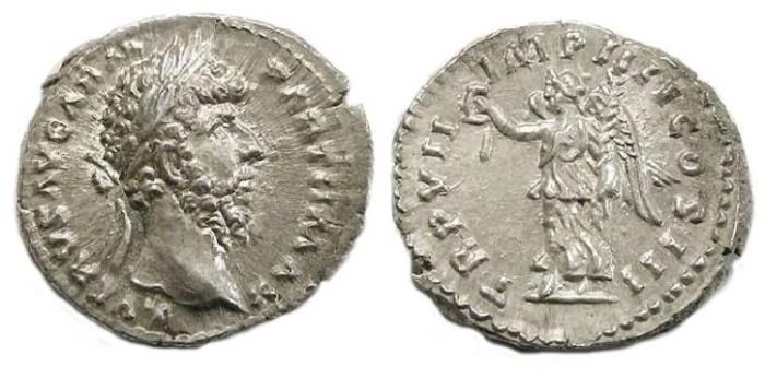 Ancient Coins - Lucius Verus, AD 161 - 169. Silver denarius.