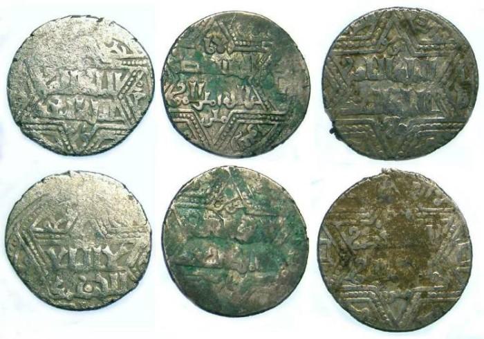 Ancient Coins - Urtukids of Mardin. Najm al-Din Ghazi I, AD 1239 to 1261. Silver Dirham. Dealer lot of three coins.