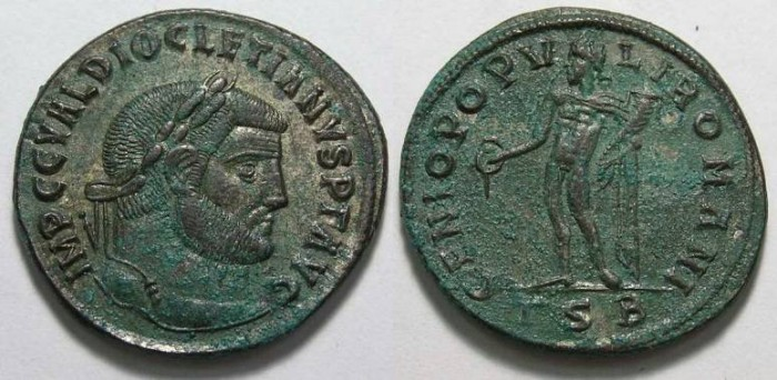 Ancient Coins - Diocletian, AD 284-305. Bronze follis.