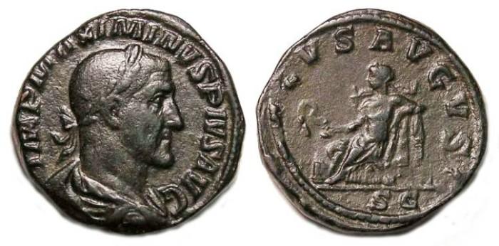 Ancient Coins - Maximinus I. AD 235 to 238. Bronze sestertius.