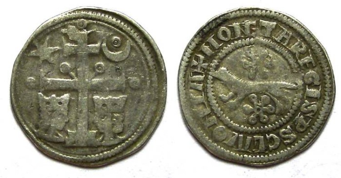Ancient Coins - Slavonia under Hungary.  Bela IV, AD 1235 to 1270. Silver denar.