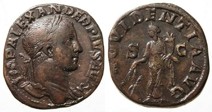 Ancient Coins - Severus Alexander. AD 222 to 235. Bronze sestertius