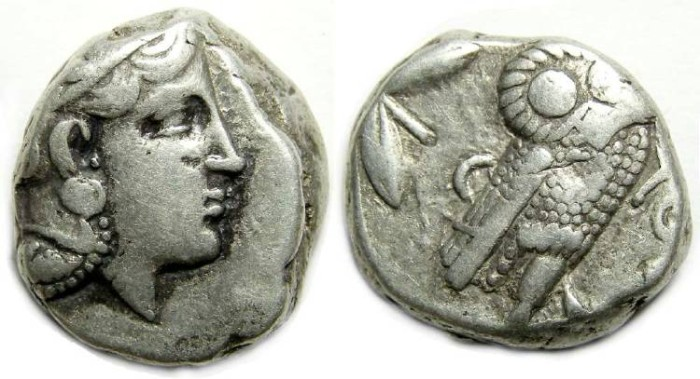Ancient Coins - Athens. ca. 393 to 300 BC. Silver Tetradrachm.