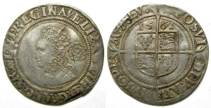 Ancient Coins - English, Elizabeth I, Silver 6 pence of 1561 (hammered issue).