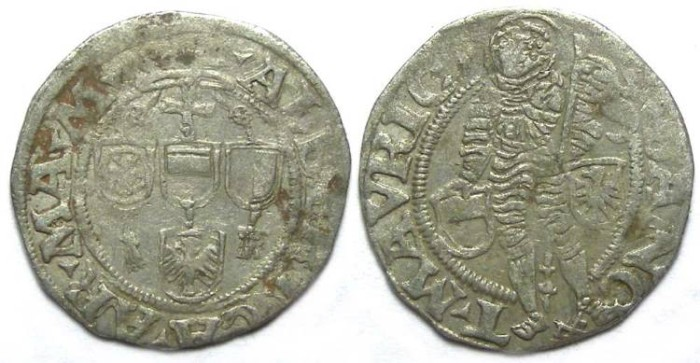 Ancient Coins - Germany, Magdeberg Bishopric.  Albrecht of Brandenburg, AD 1513 to 1545.  Half Groschen.