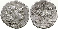Ancient Coins - Roman Social War.  Marsic Confederation. C. Papius c.f. Mutilus. 90 BC. VERY RARE DENARIUS.