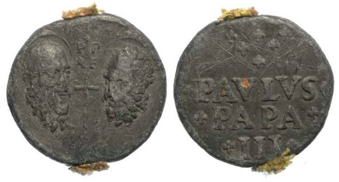 Ancient Coins - Papal Lead Bulla.  Pope Paul III Farnese.  AD 1534 to 1579.
