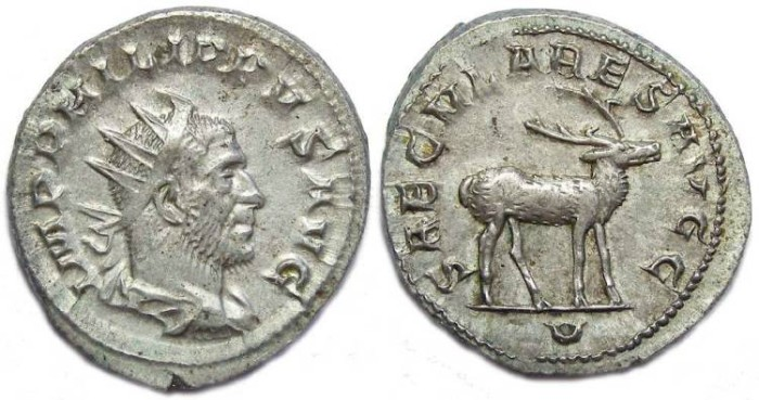 Ancient Coins - Philip I, AD 244 to 249. Silver Antoninianus- 1000 th anniversary series.