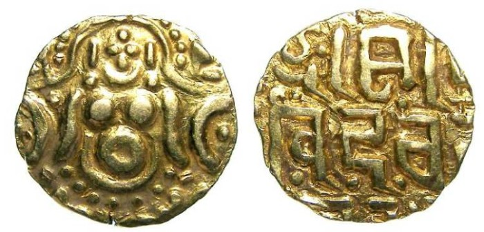 Ancient Coins - India, Gahadavalas of Kanauj and Banares. AD 1114 to 1193. Gold stater.