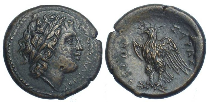 Ancient Coins - Syracuse in Sicily. Hiketas, 288 to 279 BC.  AE 24.  Over struck on an earlier issue.