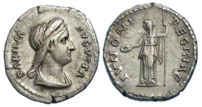 Ancient Coins - Sabina. AD 117 to 136. Silver denarius.