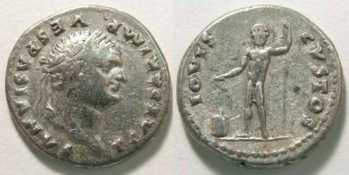 Ancient Coins - Titus as Caesar, AD 69 to 79.  Silver denarius.