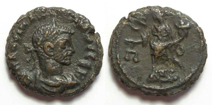Ancient Coins - Alexandria, Maximianus, AD 286 to 305, Yr-uncertain year potin tetradrachm. 18.5 mm.