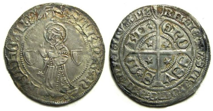 Ancient Coins - French Feudal.  City of Metz.  ca. 14th to 15th century.  Silver Groschen.